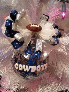 Dallas Cowboys Christmas Ornament Xmas Ball by frecklefoxboutique--do Aitkin. Dallas Cowboys Crafts, Dallas Cowboys Party, Cowboys Football, Diy Christmas Ornaments, Holiday Crafts, Christmas Decorations, Cowboy Christmas, Xmas, Cowboy Crafts
