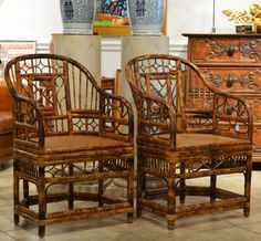 A Pair of Bamboo Chinoiserie Chippendale Style Arm Chairs with Cane Seats | FORT LAUDERDALE ANTIQUE STORE