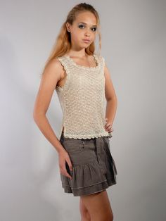 Льняная вязаная блузка - модельная фотосъемка для интернет-магазина - Folov.in