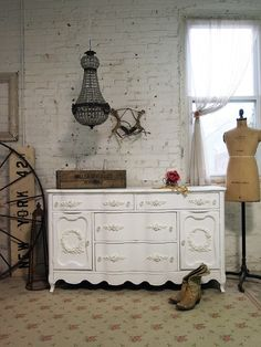 Painted Cottage Chic Shabby White Romantic by paintedcottages, $525.00