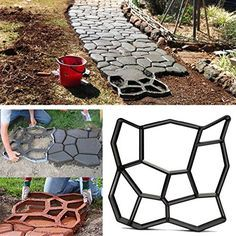 Bluelover 45cm fai da TE in plastica giardino percorso Maker stampo manualmente pavimentazione cemento mattoni pietra strada strumento ausiliario: Amazon.it: Casa e cucina