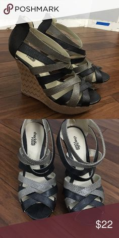 Charlotte Russe strappy wedges Charlotte Russe strappy wedges with grey and black straps. Very comfortable and worn only a handful of times. Size 9. Charlotte Russe Shoes Wedges