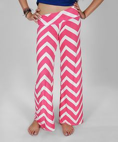 Pink Chevron Palazzo Pants by Rated G #zulily #zulilyfinds
