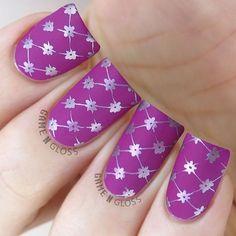 Enchanted - Nail Stamping Plate - Mattified metallic nail art stamping using Delush Polish's Enchanted stamping plate. Purple Nail Designs, Elegant Nail Designs, Toe Designs, Beautiful Nail Designs, Cute Nail Designs, Acrylic Nail Designs, Joy Nails, Uñas Diy, Nail Stamping Plates