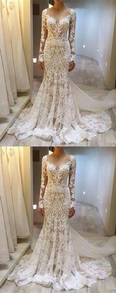 Custom Long Sleeves Lace Elegant Fashion Charming Wedding Dresses, Bridal Dress, PD0603 #sposabridal