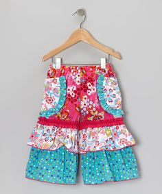 Take a look at this Pink & Blue Field of Flowers Pocket Capri Pants - Toddler & Girls by Sage & Lilly on #zulily today!