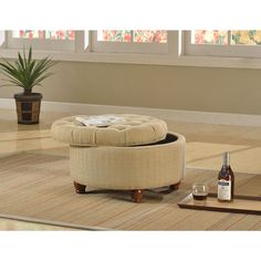 Laurel Creek Florence Tan And Cream (Ivory) Tweed Tufted Storage Ottoman ( Tufted Round