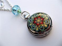 Victorian Floral Mosaic Pocket Watch Necklace  by ArtInspiredGifts, $27.00
