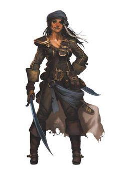 Female Human Pirate Rogue - Pathfinder PFRPG DND D&D ed fantasy swords and shackles Fantasy Women, Fantasy Rpg, Medieval Fantasy, Fantasy Girl, Fantasy Warrior, Dnd Characters, Fantasy Characters, Female Characters, Pirate Art