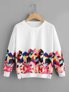 Shop Geo Print Zipper Side Drop Shoulder Sweatshirt online. SheIn offers Geo Print Zipper Side Drop Shoulder Sweatshirt & more to fit your fashionable needs.