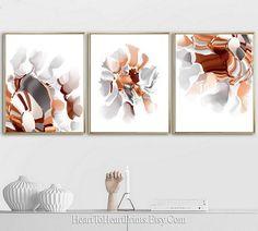 Abstract Painting Printable Wall Art Set Of 3 Prints Abstract Artwork Burnt Orange Gray Art Minimalist Wall Art Modern Minimal Downloadable