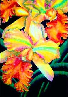 Jean-Baptiste.com Silk Painting of an orchid
