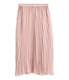 Dusty pink. Calf-length, pleated skirt in airy woven fabric with an elasticized waistband. Lined.