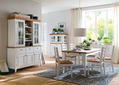 Esszimmer komplett Malin Esszimmermöbel Landhausmöbel Weiß Natur 7946