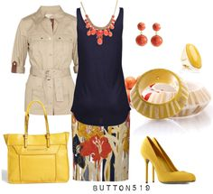 """""""Sunset Pencil Skirt w/coral, navy & yellow"""" by button519 ❤ liked on Polyvore"""