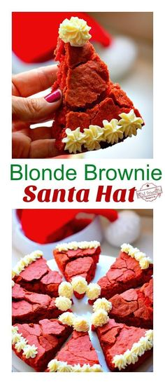 This Blonde Brownie Santa Hat Christmas Dessert Recipe is cute, easy and delicious. Kids and adults will love these creative brownies. They are a fun Christmas treat for your party. christmas food and drink Cute Christmas Desserts, Christmas Brownies, Christmas Desserts Easy, Kid Desserts, Creative Desserts, Christmas Cooking, Christmas Parties, Holiday Treats, Baking Desserts