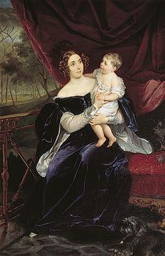 1834 Olga I. Orlova-Davydova by Karl Brullov and daughter Natalia