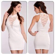 Sexy White Mock Neck Mini Party Dress Plunging V Neck Studded Dress Dresses