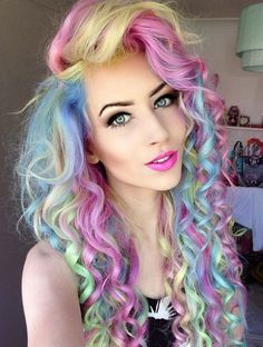 Rosa Haare 2019 - pastel colored curls with a side part long curly hairstyles - Frauen Frisuren Funky Hairstyles, Pretty Hairstyles, Relaxed Hairstyles, Hairstyles For Gowns, Hairstyle Men, Formal Hairstyles, Hairstyles Haircuts, Hairstyle Ideas, Long Curly Hair