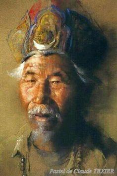 Portrait pastel du NépalPastel (62 x 47 cm) de Claude Texier