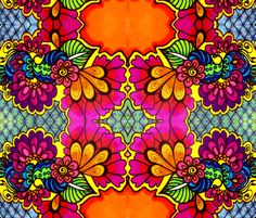 Henna Fushia Flowers fabric by bajidoo on Spoonflower - custom fabric