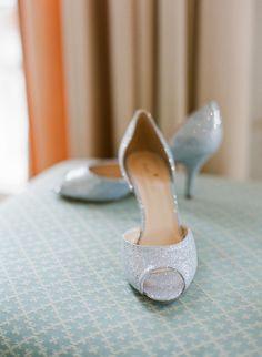 Kate Spade, blue heels, peep-toe, sparkly shoes // Jen Fariello Photography