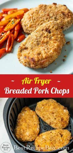 Crispy Air Fryer Breaded Pork Chops Recipe is the best Air Fried Crusted Pork Chop dinner!   @bestrecipebox #airfryerrecipes Air Fry Pork Chops, Thin Pork Chops, Breaded Pork Chops, Pork Ribs, Air Fryer Dinner Recipes, Air Fryer Recipes Easy, Air Fryer Recipes Pork Chops, Recipes Dinner, Dinner Ideas