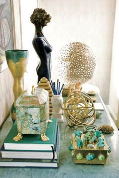 Kelly Wearstler's Golden Moment with green blue. Gorgeous.