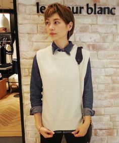 Le.coeur Blanc ル クールブラン  ハイネック片畦ベスト / knit vest on ShopStyle