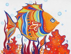 ORIGINAL Nautical Orange Blue Red Painting Kids Wall Art Fish Sea Creatures Ocean Illustration Mixed Media Nautical Nursery room Girl Boy. $40.00, via Etsy.