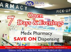 Is It Getting Difficult To Afford Medicines? Medx Clinic Offers 24*7 Pharmacy For You With Special Discount. For More Info Contact: Call: 289-521-8844 Or Call: 289-521-8845 #Health #Wealth #MedX #Clinic #Consultation #Pharmacy #Cause #Health #Sick #Illness #Solution