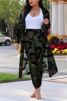 Camouflage Sexy Printing Cardigan Long Sleeve Trousers Suit Classy Outfits, Chic Outfits, Beautiful Outfits, Fashion Outfits, Camo Fashion, Fashion Shoes, Latest African Fashion Dresses, African Print Fashion, Wholesale Shoes