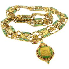 Unknown - Art Deco Egyptian Revival Ruby,Turquoise, Enamel & Gold Necklace - Nadine Krakov Collection