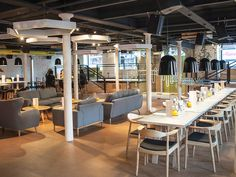 I love communal style dining. and that lounge area!! | PLY Manchester