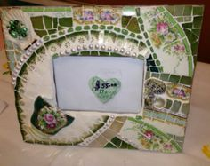 Beautiful Vintage China Mosaic Picture Frame - Green & Gold Vintage China- Broken China Mosaics
