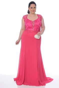 Vestidos de Festa Plus Size Cor Rosa 1