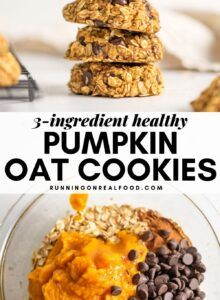 These healthy pumpkin oat cookies take 15 minutes to make with 3 ingredients. This recipe is low-fat, low-calorie, vegan, gluten-free and can be sugar-free. Pumpkin Oatmeal Cookies, Oat Cookies, Pumpkin Dessert, Healthy Cookies, Healthy Desserts, Cookies Vegan, Savory Pumpkin Recipes, Nutritious Snacks, Breakfast Recipes