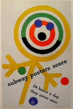 1949 Illustration Poster PAUL RAND Subway Posters Score 24 Hours A Day