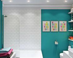 Бирюзовый цвет для маленькой ванной комнаты