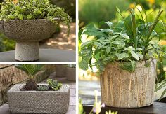 Examples of Textures Added to Hypertufa Containers with Bubble Wrap, Bamboo and a Rug Pad. Stone Planters, Large Planters, Planter Pots, Concrete Pots, Concrete Garden, Greenhouse Gardening, Container Gardening, Flower Gardening, Copper Spray Paint