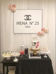 Check out these ideas for a Coco Chanel themed birthday party! We've got a Chanel Birthday cake and other desserts as well as Chanel decor like a backdrop! 25th Birthday Ideas For Her, 25th Birthday Parties, 21st Birthday Cakes, Birthday Party Themes, Coco Chanel, Chanel Cake, Chanel Party, Chanel Birthday Cake, Chanel Decor
