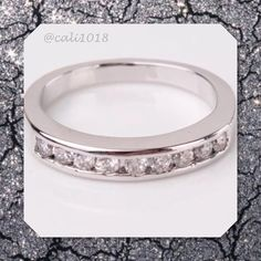 NEW White Topaz White Gold Filled Wedding Band Gem Type: White Topaz   Gem Quantity: 6, 7, 8, 9,  Gem Size: 2mm Gem Cut: Round Brilliant Gem Color: white Metal Type: 18k white gold filled Boutique Jewelry Rings