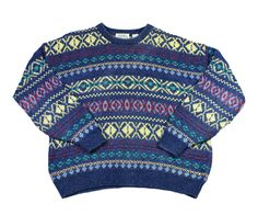 Vintage 90s Nordic Sweater Blue/Yellow Mens Size Large $35.00