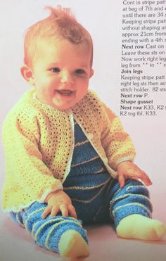 Baby layette.  Baby's crochet cardi.  Baby's knitted overalls.  Busy Needles part 47