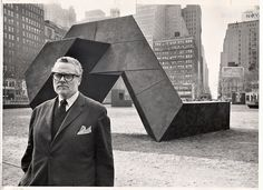 "Tony Smith with his sculpture ""The Snake Is Out"" in Bryant Park in 1967."