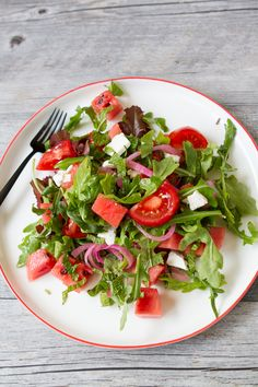 WATERMELON FETA SALAD WITH TOMATOES AND PICKLED RED ONIONS