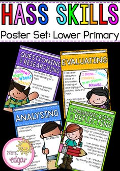 HASS Skills:HASS Skills, a power set for lower primary (Years 1-2). Each poster is reflective of the SCSA Humanities and Social Sciences skills for Year 1-2 students though the language is more student friendly and simplified. Each skill reflects the following:- HASS Questioning and Researching- HASS Evaluating - HASS analysing- HASS Communicating and ReflectingKey terms:HASS, Western Australia, Humanities and Social Sciences, HASS Skills, HASS lower primary, HASS SCSA