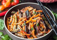 This crunchy flavor-loaded and delicious Asian Eggplant Salad is a perfect side dish - light and healthy but very filling. Best Eggplant Recipe, Eggplant Recipes, Eggplant Salad, Stuffed Sweet Peppers, Healthy Salad Recipes, International Recipes, Soup And Salad, My Favorite Food, Favorite Recipes