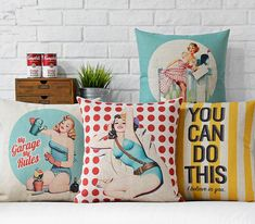 Retro throw pillows sexy girl in and the blonde retro beauty emoji bedding massage decorative pillow . Bedroom Cushions, Cushions On Sofa, Pop Art, Modern Pillows, Decorative Throw Pillows, Nostalgia, Black And White Carpet, Retro, Canvas Letters