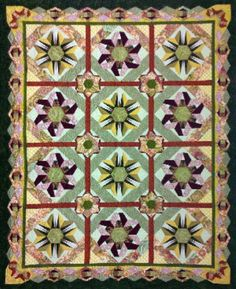 Moxie Girl, Spicy Ginger, Block of the Month - Quilting On the Square.  Pieced hexies